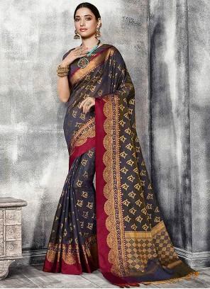 Tamannaah Bhatia Banarasi Silk Fancy Navy Blue Designer Traditional Saree