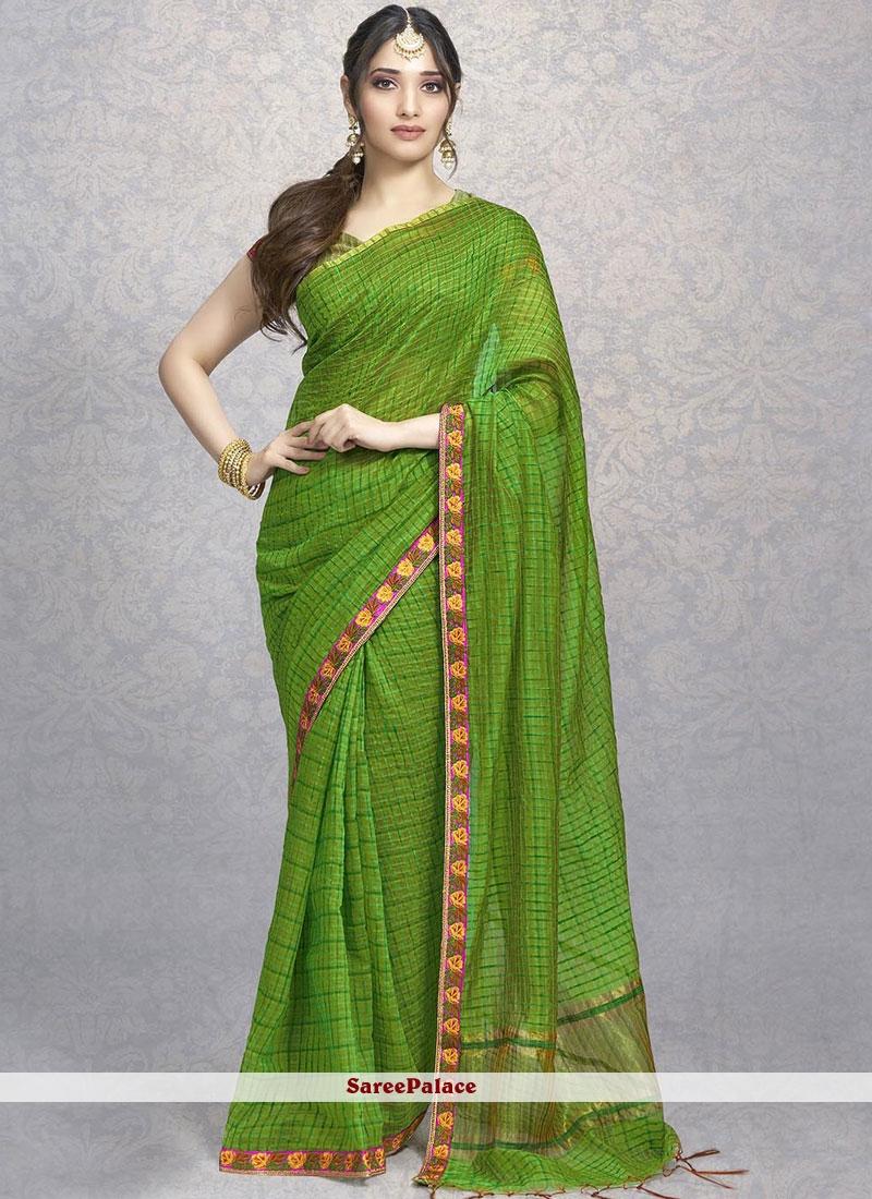 ef4bbdb116b Buy Tamannaah Bhatia Embroidered Green Designer Saree Online