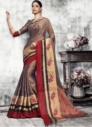 Tamannaah Bhatia Fancy Brown Banarasi Silk Traditional Designer Saree