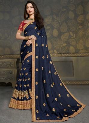Tamannaah Bhatia Navy Blue Silk Embroidered Traditional Saree