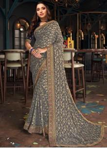 Tamannaah Bhatia Grey Patch Border Designer Saree