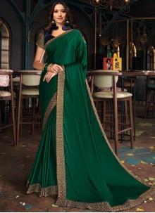 Tamannaah Bhatia Patch Border Silk Green Designer Saree
