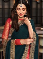 Tamannaah Bhatia Pink and Teal Designer Half N Half Saree