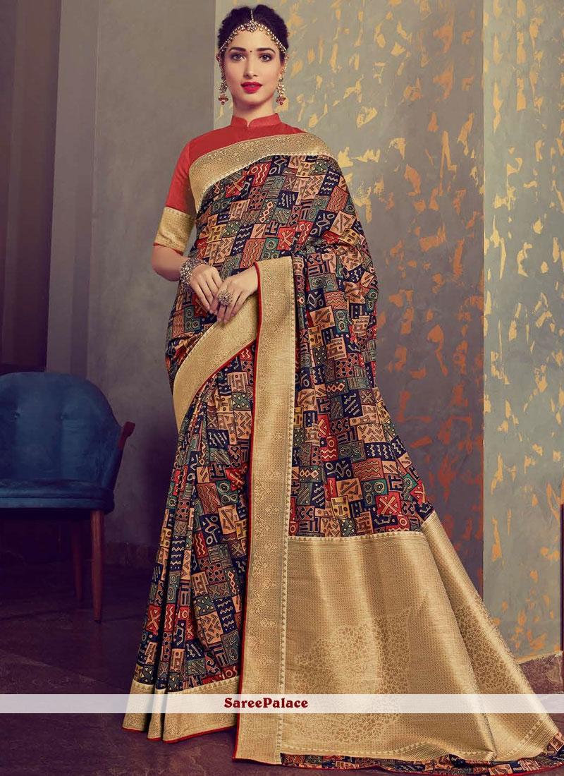 cd16a0cc4a Buy Tamannaah Bhatia Woven Multi Colour Designer Traditional Saree ...