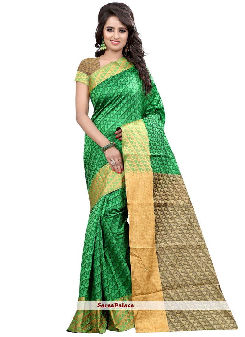 Tantalizing Cotton Silk Green Traditional  Saree
