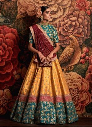 Teal and Yellow Banarasi Silk A Line Lehenga Choli