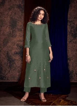 Teal Art Silk Readymade Salwar Kameez