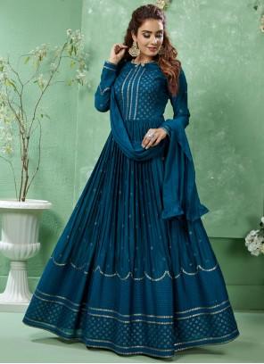 Teal Art Silk Salwar Suit