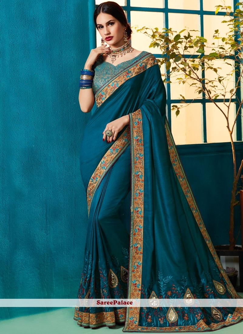 Teal Art Silk Wedding Designer Traditional Saree