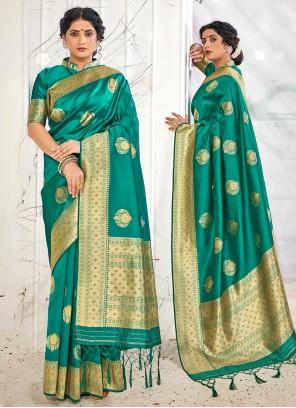Teal Banarasi Silk Designer Traditional Saree