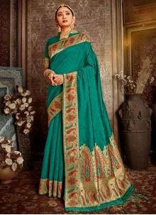 Teal Banarasi Silk Wedding Traditional Saree