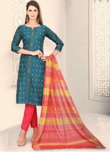 Teal Chanderi Churidar Designer Suit