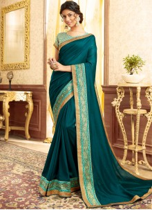 Teal Chanderi Patch Border Traditional Saree