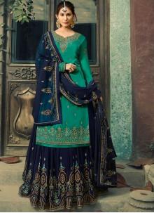 Teal Color Palazzo Salwar Suit