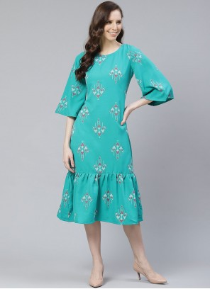 Teal Color Rayon Printed Party Wear Kurti
