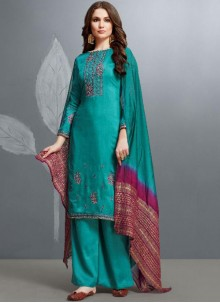 Teal Cotton Embroidered Palazzo Designer Suit