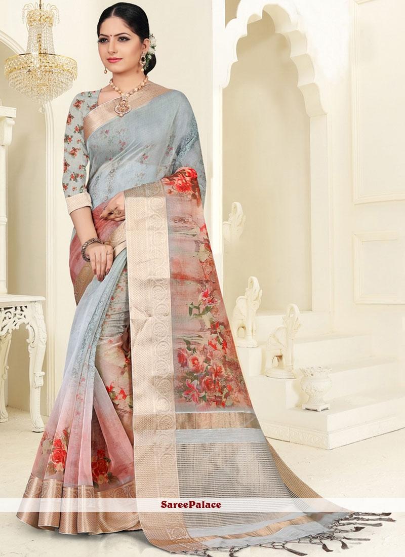 Teal Digital Print Silk Saree