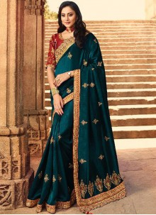 Teal Embroidered Ceremonial Silk Saree