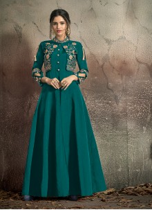 Teal Embroidered Designer Gown