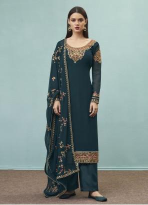 Teal Embroidered Designer Pakistani Suit