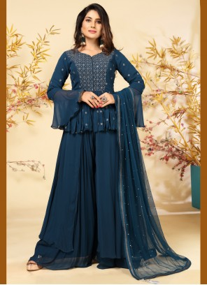 Teal Embroidered Faux Georgette Readymade Suit
