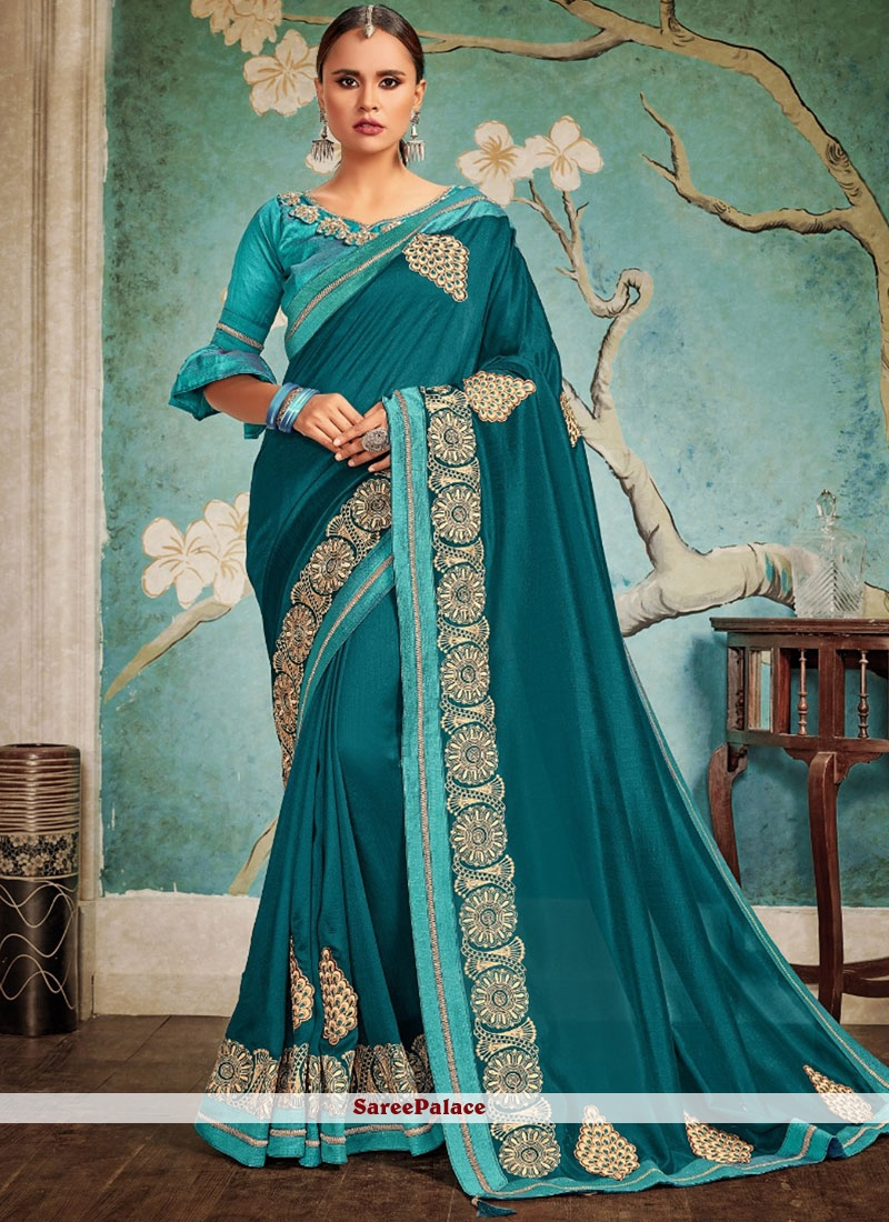 Teal Embroidered Festival Designer Traditional Saree