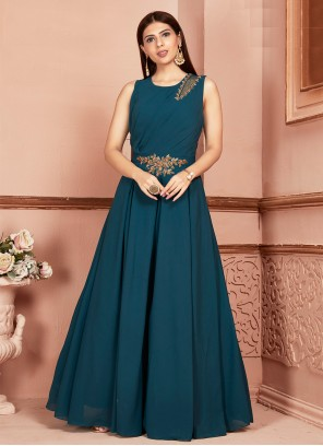 Teal Embroidered Georgette Readymade Suit