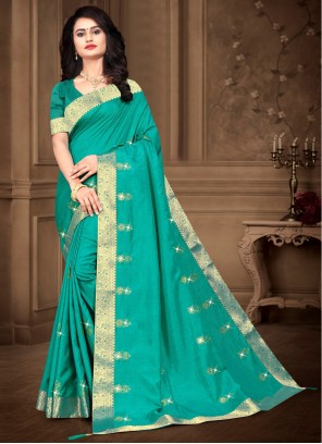 Teal Embroidered Party Classic Saree