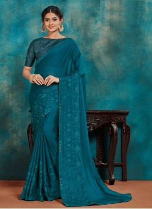 Teal Embroidered Poly Silk Designer Traditional Saree