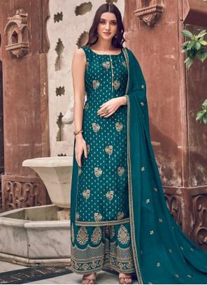 Teal Embroidered Silk Bollywood Salwar Kameez