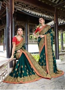 Teal Embroidered Silk Saree
