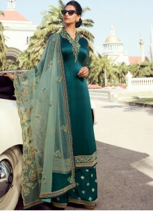 Teal Faux Georgette Palazzo Salwar Suit