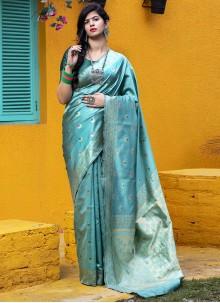Teal Festival Banarasi Silk Saree