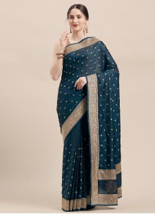 Teal Festival Satin Silk Traditional Saree