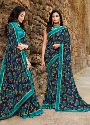 Teal Floral Print Ceremonial Silk Saree