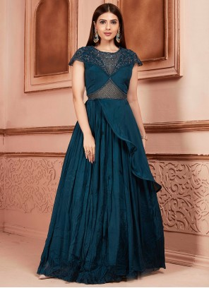 Teal Georgette Thread Readymade Suit