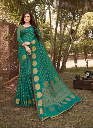 Teal Handloom silk Designer Saree