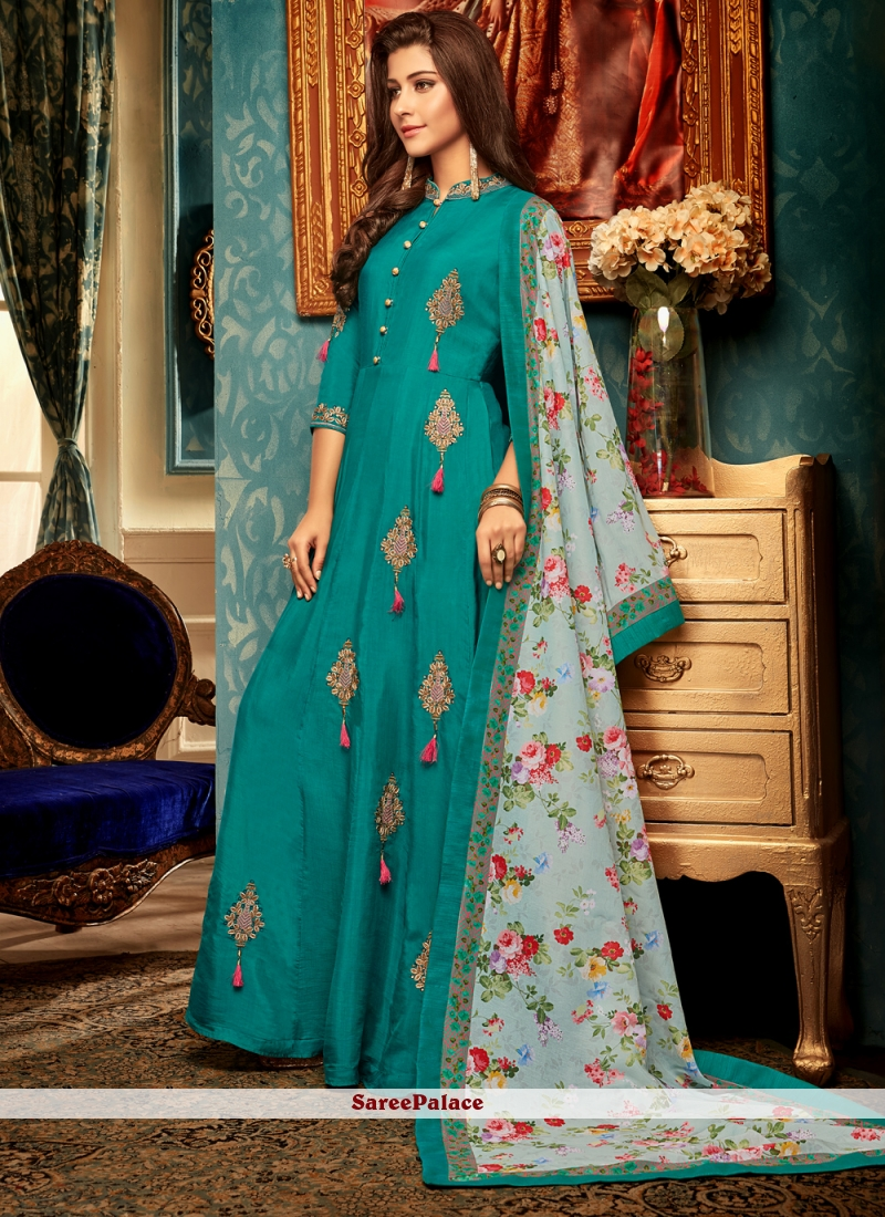 Teal Muslin Embroidered Designer Gown