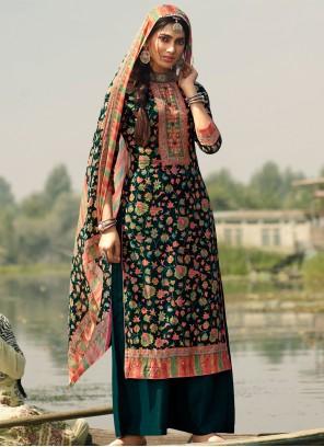 Teal Pashmina Designer Palazzo Salwar Suit