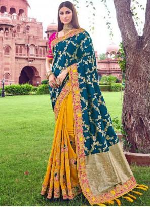 Teal Patch Border Designer Traditional Saree