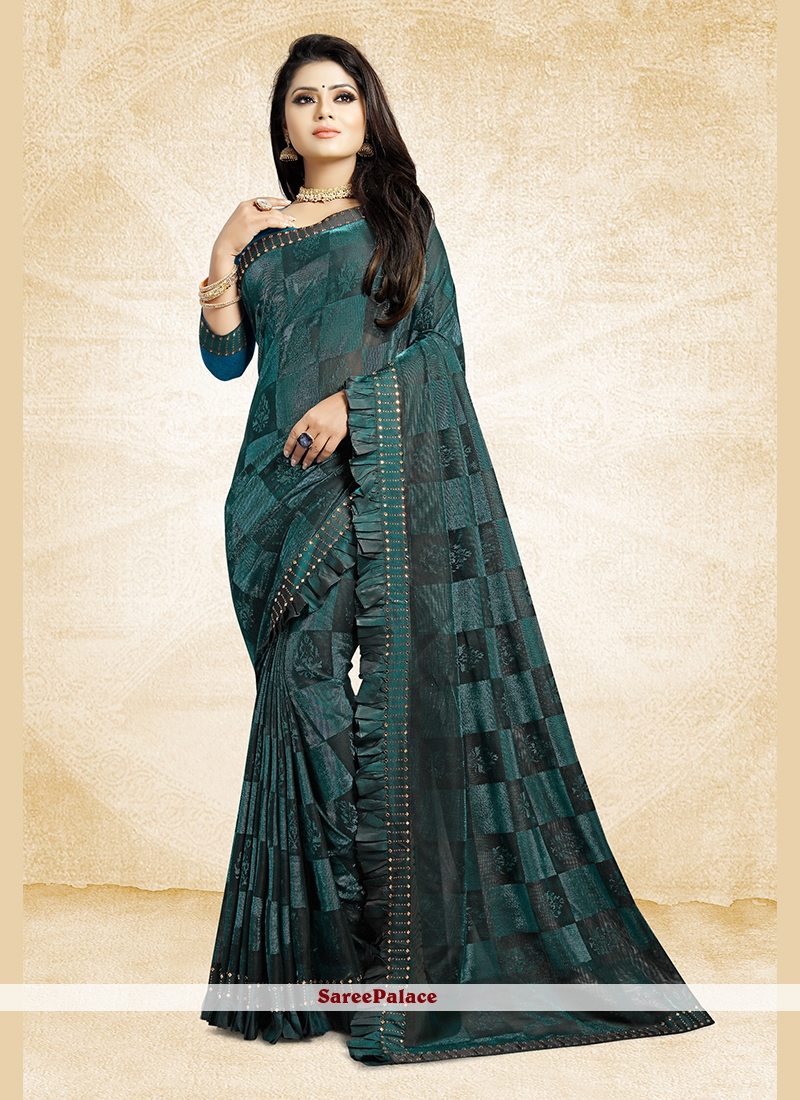 Teal Patch Border Fancy Fabric Saree