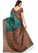 Teal Print Work Art Silk Casual Saree
