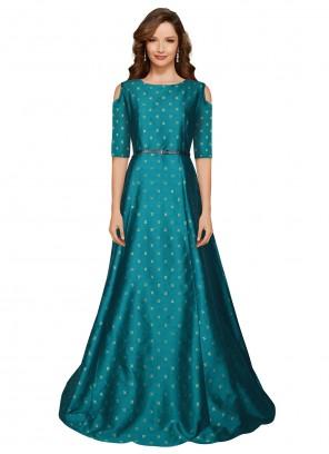 Teal Printed Tafeta Silk Designer Gown