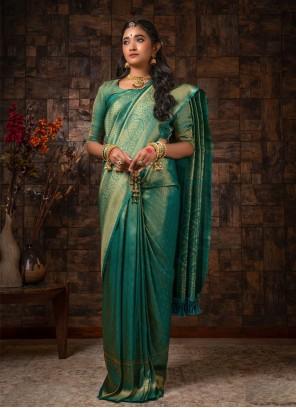 Teal Raw Silk Traditional Designer Saree