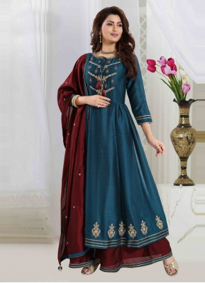 Teal Embroidered Art Silk Readymade Suit