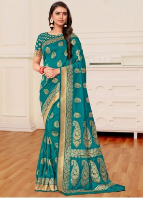 Teal Reception Banarasi Silk Classic Saree