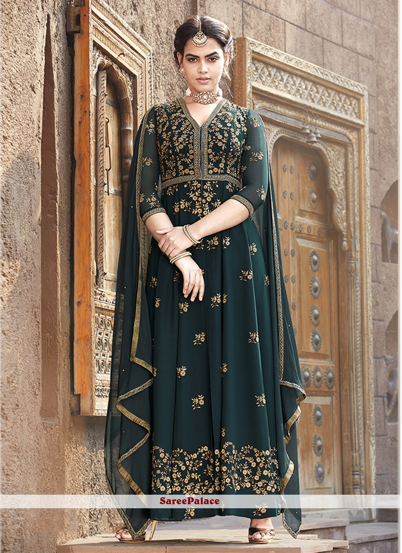 Teal Resham Floor Length Anarkali Suit