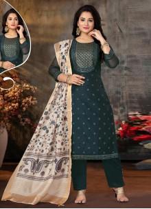 Teal Sangeet Chanderi Designer Suit