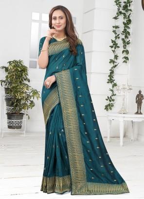 Teal Silk Designer Saree