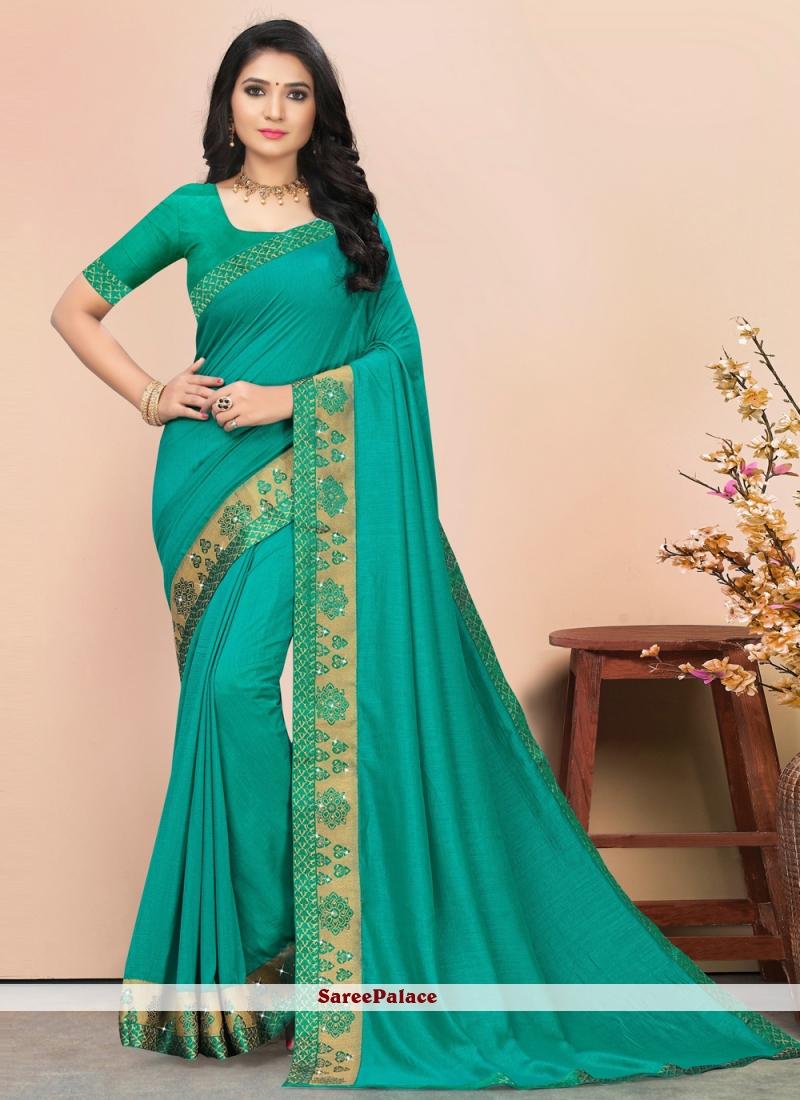 Teal Silk Lace Trendy Saree